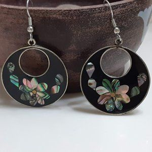 Mexico Silver Abalone Earrings Black circle Floral